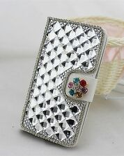 3D Diamond Crystal PU Leather Flip Cover Credit Card Wallet Case for Nokia phone