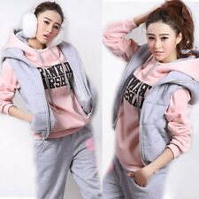 Women Lady Tracksuit Sports Sweatsuit Coat+Vest+Pants Hoodie 3pcs Suit