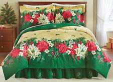 Collections Etc Reversible Christmas Poinsettia Bedspread Comforter Set