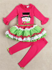Baby Girls Christmas Snowman Outfits Kids Xmas Cake Top Dress+Pants Clothes