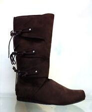 Brown Renaissance Fair Knee Medieval Peasant Pirate Costume Boots Mens 8 9 10 11