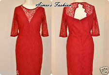 NEXT PREMIUM RED LACE SCALLOP BACK DRESS