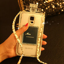 Luxury Bling Diamond Crystal Bow Perfume Bottle Chain Case for Galaxy S5 G900