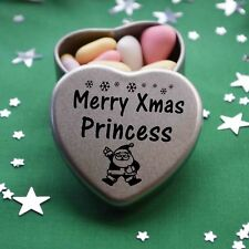 Merry Xmas Princess Mini Heart Tin Gift Present Happy Christmas Stocking Filler