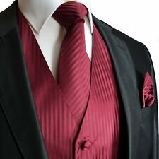 Men's Solid Tuxedo Dress Vest Striped Design & Necktie Hanky Set Burgundy Color