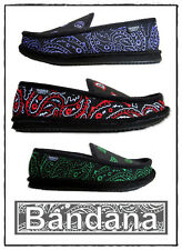 Trooper America Mens Bandana Embroidery Indoor Trendy House Shoes Multi option