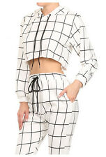 NWT Black White Plaid and Check Hoodie Athletic 11436 Sweat Crop Top S M L