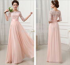 evening dress prom formal lace bride wedding dinner party long sleeve PLUS SIZE