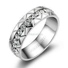 6mm Silver-tone Stainless Steel Ring w/ CZ Womens Anniversary Wedding Band Gift