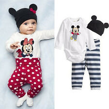 New MICKEY MINNIE Mouse Long Sleeve Clothes Kid Boys Girls T shirt Leggings Hat