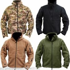 MENS FLEECE HOODED JACKET FULL ZIP HOODIE FISHING HIKING CAMPING CLOTHING ARMY