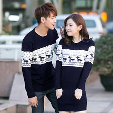 Womens Mens Xmas Reindeer lovers Couples round neck sweater Knitting