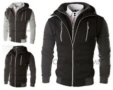 New Mens Slim Fit Designed Zip Up Hooded Jacket Coat Casual Sweatshirt Hoodies