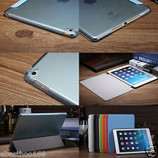 Slim Smart PU Leather Crystal Clear back case cover for apple ipad air 2 2014