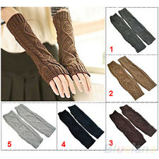 Comfortable Crochet Knitting Wool Wrist Arm Warm Mitten Long Fingerless Gloves
