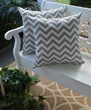 2 Pack ~ Gray White Chevron Decorative Indoor Outdoor Throw Toss Pillow USA