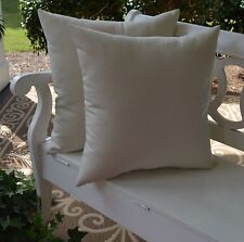 2 Pack ~ Ivory White Decorative Indoor Outdoor Throw Toss Pillow Made In USA