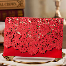 Elegant Red Hollow Flowers Wedding Invitations Cards with Envelopes, Seals