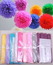 """10"""" Pom Poms Tissue Paper Flowers Home Outdoor Decoration Wedding Party Free S/H"""