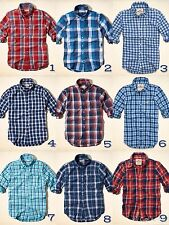 NWT Hollister by Abercrombie & Fitch Men's Shirt T-Shirt Top Plaid Long Sleeves
