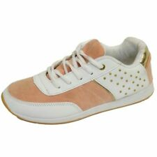 WOMENS GIRLS WHITE STUD CASUAL GYM SPORTS FASHION TRAINERS SHOES PUMPS SIZE 3-8