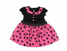 Disney Minnie Mouse Cerise Pink Black Lined Dress Size 9 Months - 6 Years