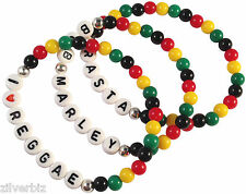 RASTAFARI Elastic Bead Bracelet Red Yellow Green 6mm Acrylic with Letter Beads