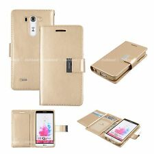 Dual Wallet Leather Book Flip Case Cover for Apple iPhone Samsung LG