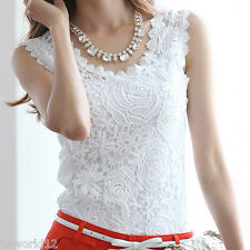 Fashion Tank Top Lace Casual Sleeveless Plus Size T Shirt Women Vest Black White