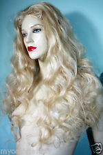 Remi Remy Glueless Full Lace Wig Blonde 613 Wavy Indian Human Hair Long