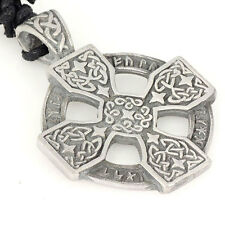 CELTIC KNOTWORK CROSS STARS ROPE EDGE DESIGN PEWTER Pendant Leather Necklace