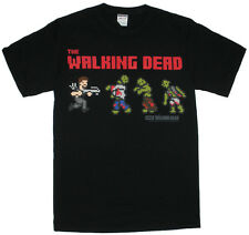 THE WALKING DEAD Pixel Daryl And Walkers Men's T- Shirt Licensed - Zombie