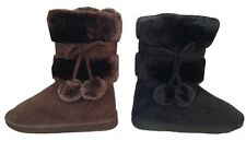 New Womens Faux Fur Boots Mid Calf Fashion Winter Warm Shoes