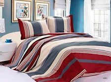 NEW Microfiber wrinkle free Stripes red gray high quality thread count Sheet set