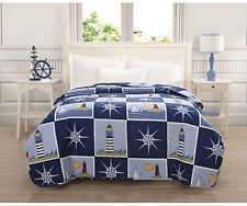 Nautical Microfiber Quilt Sailing Lighthouse Compass Blue Twin Full Queen King