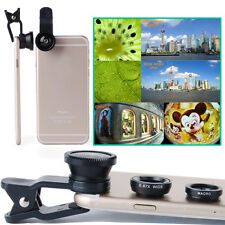 3in1 Fisheye+ Wide Angle + Macro Camera Clip Lens For Phone Galaxy iPhone LG