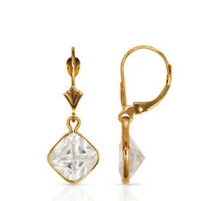 14K Yellow Gold CZ Circle Birthstone Drop Dangle Earrings High Quality