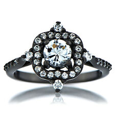 Black Gothic CZ 925 Sterling Silver Promise Engagement Ring 5 6 7 8 9 10 11 12