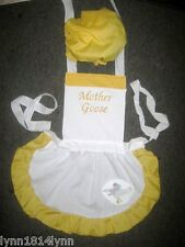 GIRLS KIDS MOTHER GOOSE COSTUME APRON & MOP TOP HAT Made to Fit 1-12 years