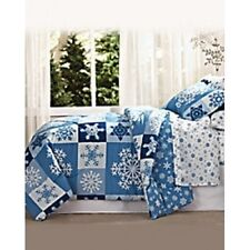 Christmas Snowflakes Comforter Quilt Set Full Queen Twin Size Patchwork Bedding
