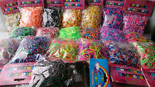 600 Rainbow Color Loom Rubber Bands Refill Kit Metalic Jelly Glitter Tie Dye