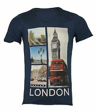 Mens V Neck Navy Blue Fitted T-Shirt Short Sleeve London Graphic Print S-L