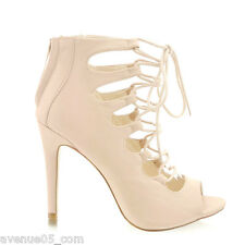 Avenue05.com New Women Lace Up High Heel Shoes Sandals Stiletto Booties Nude