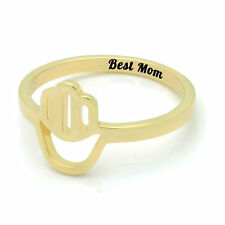 "Gold Hamsa Ring for Mom - Mothers Ring Engraved on Inside with ""Best Mom"""