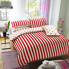 Printed Duvet Cover with Pillow Cases Bed Set Design Red Stripe In All Sizes