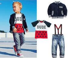 Handsome Baby Boys Casual Outfits set Jacket Coat T-shirt Dungarees Jeans 3pcs