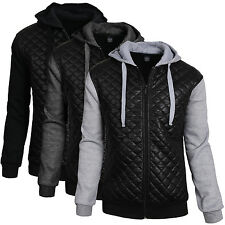 Mens Quilted Faux Leather Color Block Mixed Media Bomber Jacket With Hoodie