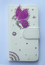 Crystal butterfly Wallet Card Holder PU Leather Flip Cover Case for HTC phones