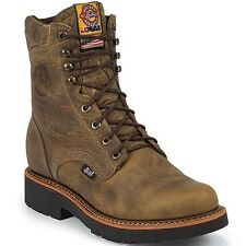 """Men's Justin 8"""" Tan Gaucho Lace-Up Work Boot, #440"""