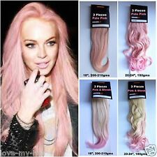 """22-24"""" Thick Wavy Curly Dip Dyed 2 Tone Ombre Clip In Hair Extensions"""